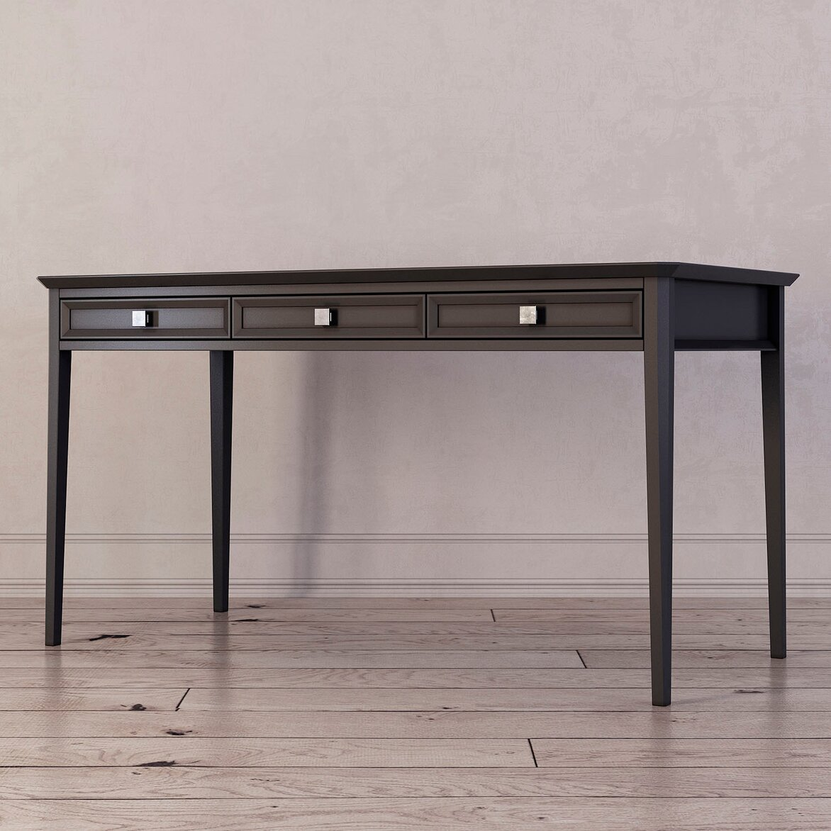 Письменный стол с 3-я ящиками Ellington, черный (полуоборот)