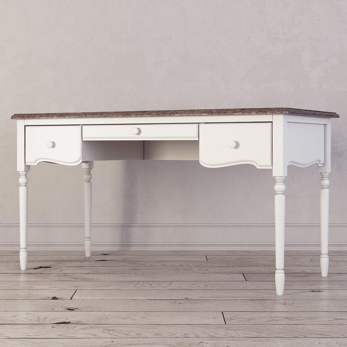 Письменный стол с 3-я ящиками Leblanc, белый (полуоборот)