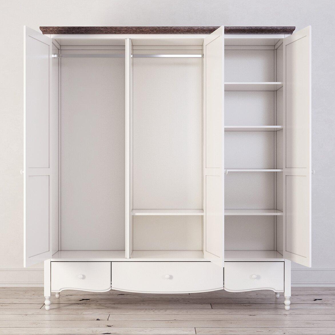 Шкаф трехстворчатый Leblanc, белый (открытый)