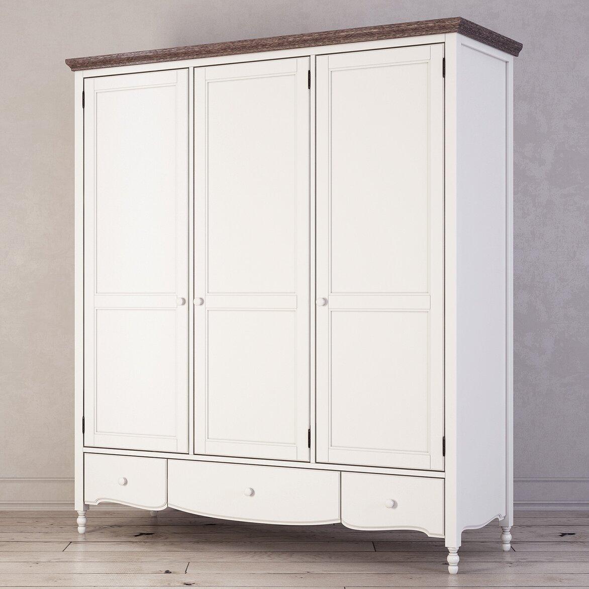 Шкаф трехстворчатый Leblanc, белый (полуоборот)