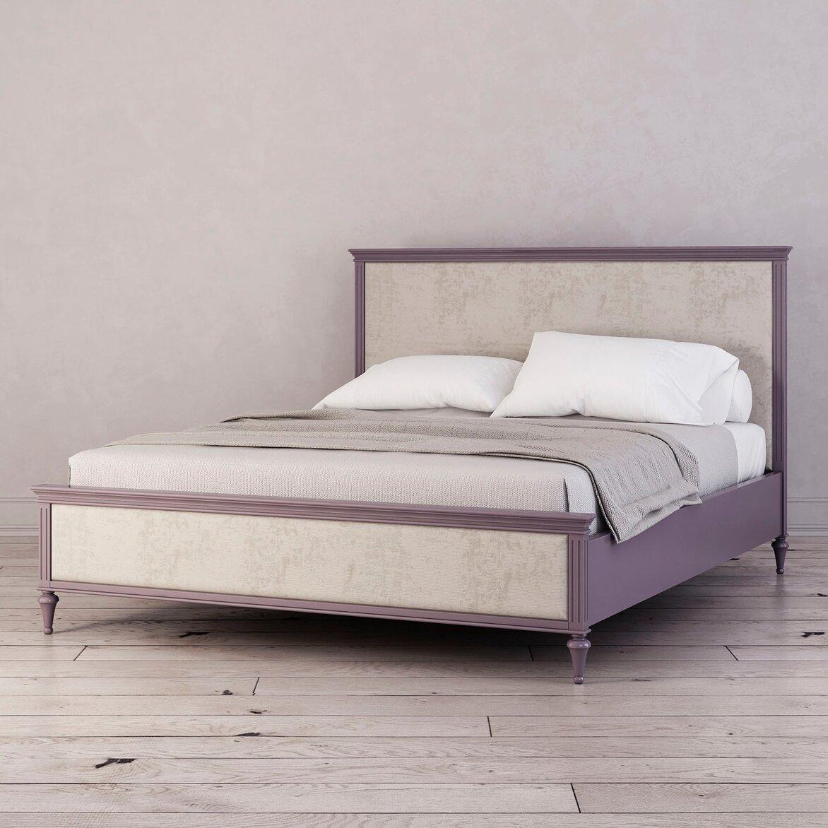 Кровать с мягким изголовьем Riverdi, орхидея (три четверти)