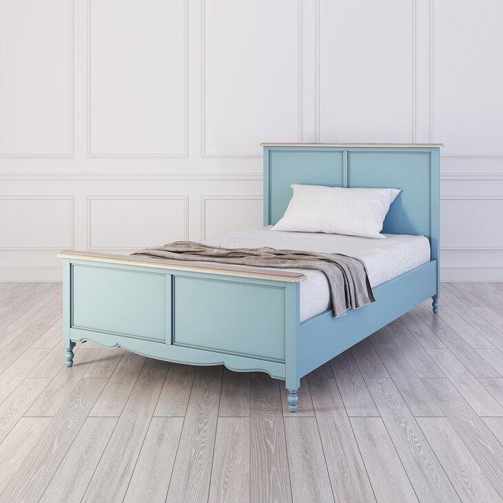 Кровать односпальная 120*200 Leblanc, голубая (полуоборот)