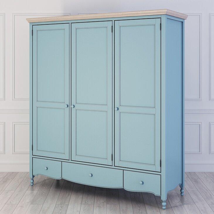Шкаф трехстворчатый Leblanc, голубой (полуоборот)