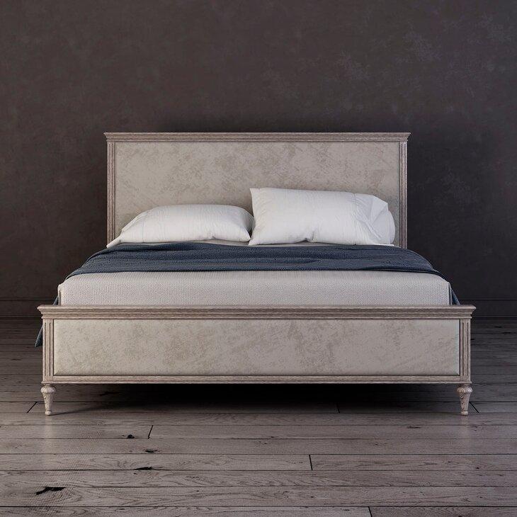 Кровать с мягким изголовьем Riverdi, светлый дуб