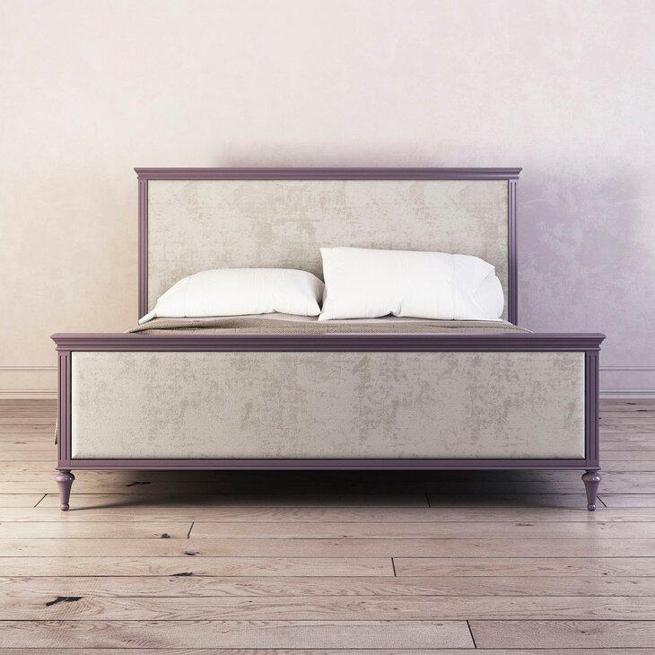 Кровать с мягким изголовьем Riverdi, орхидея, с изножьем
